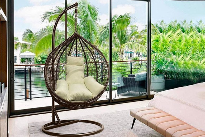 Image of £299 for instead £599.99 for a polyrattan egg chair swing from Cheeky Box - save 50%