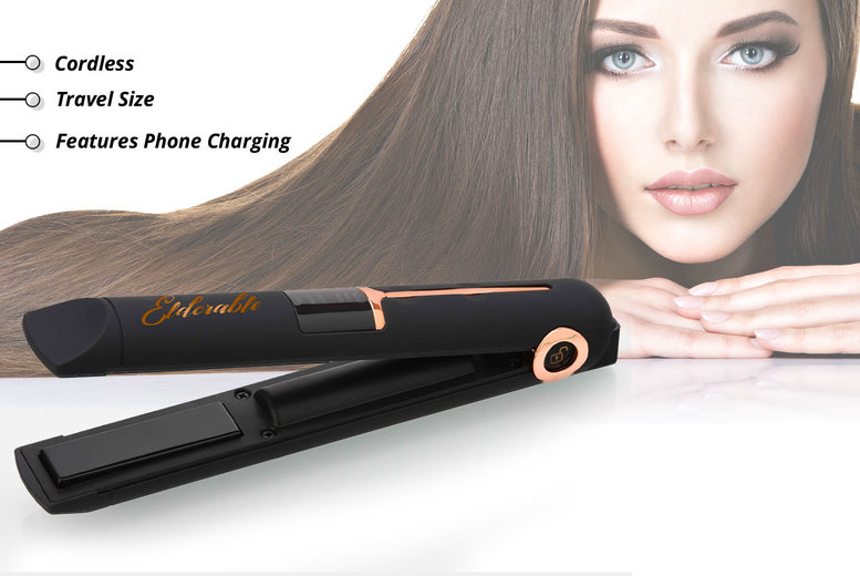 Image of £35 instead of £90 for cordless hair straighteners in black, fuchsia, rose gold, red, or white from Eldorable - save 61%