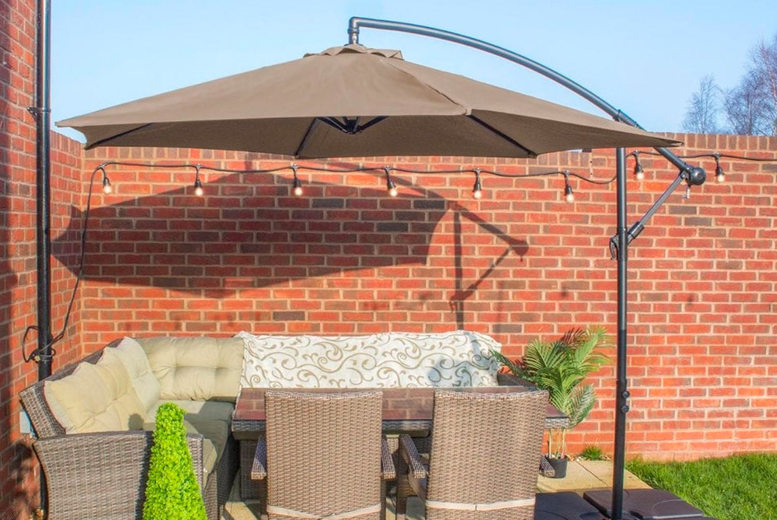 Image of £89 instead of £179.99 for a deluxe banana parasol from Garden & Camping - choose black, blue, grey, green or beige and save 51%