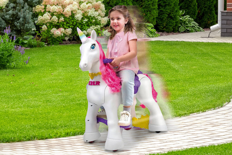 Image of £89.99 instead of £200 for a children's Feber My Lovely Unicorn ride on toy from DealBerry - save 50%