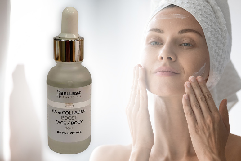 Image of £12.99 for a hyaluronic acid and collagen booster serum for face and body 30ml from Carefree Toiletries!