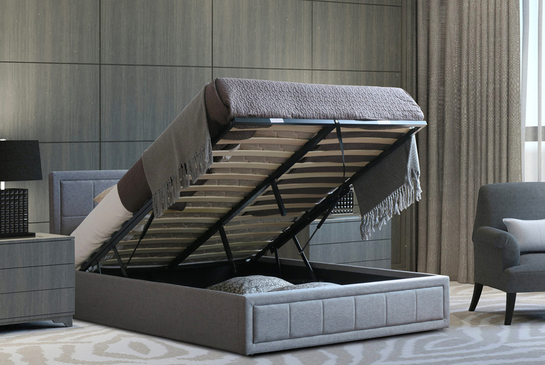 Image of From £159 instead of £249.99 for a grey linen ottoman bed frame with lift-up storage, or £219 to include a spring mattress from Bedsstar- save up to 36%
