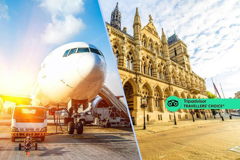 Image of £61 for an overnight 4* Jurys Inn East Midlands Airport stay for two people with breakfast, and up to 35% off the park and ride, meet and greet, long-term airport parking at a choice of 17 UK airports from FHR - save up to 31%
