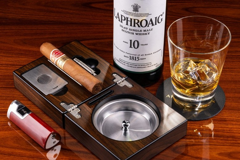 Image of £49 instead of £128 for a Gentleman's afternoon tea for two people at Arc Le Salon, Mayfair including a glass of single shot Laphroaig 10 years old whiskey each and a La Invicta Honduran Tres Petit Corona cigar each - save 62%