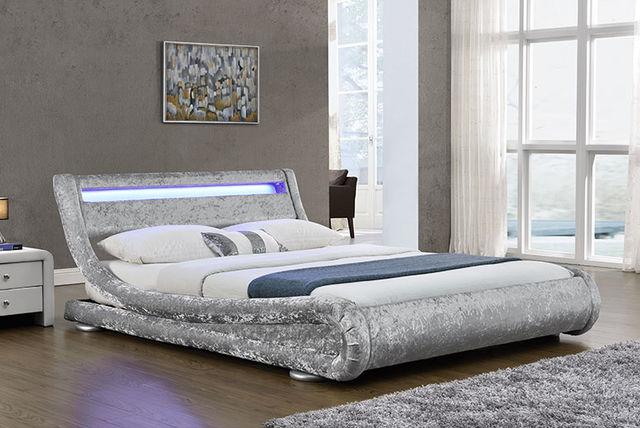 Led Crushed Velvet Bed 2 Colours Shop Livingsocial
