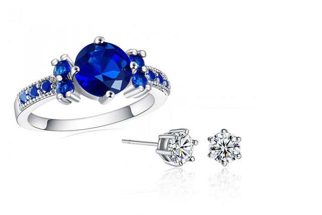 20fa318034be £12 instead of £199 (from Your Ideal Gift) for a blue ring and pair of  solitaire earrings made with crystals from Swarovski® - save 94%