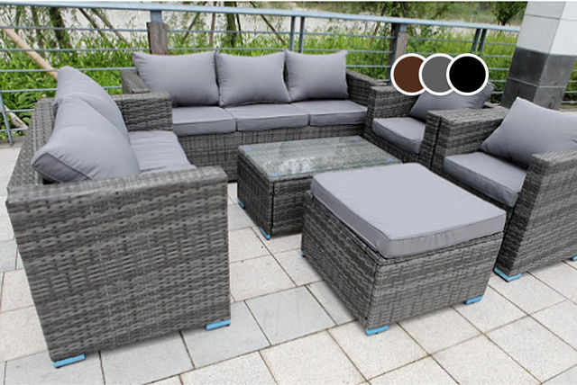8 seater rattan garden furniture set table 3 colours