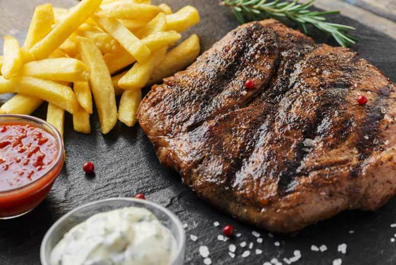 DDDeals - £24 instead of £44 for steak frites dining for two people with a bottle of wine to share at Chequers Merchant City, Glasgow - tuck in to a juicy 8oz rump steak and save 45%