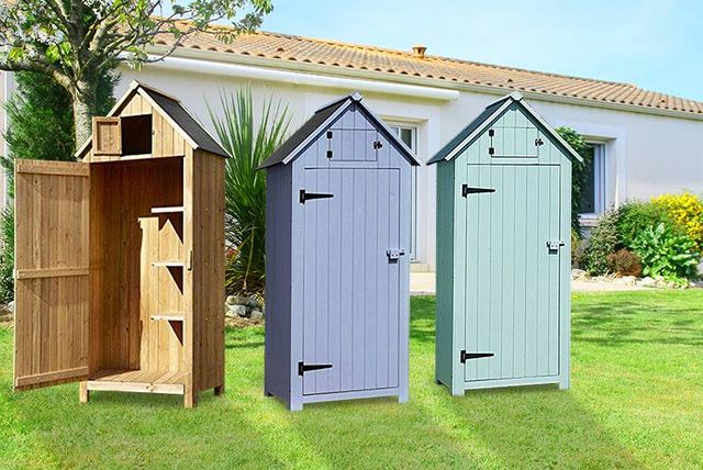 Wooden beach hut style storage shed 3 colours for Beach hut style