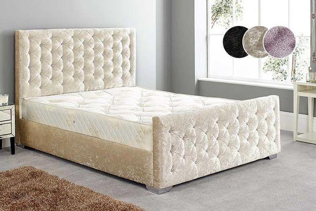 Diamante Crushed Velvet Bed Frame & Mattress - 3 Colours! | Shopping ...