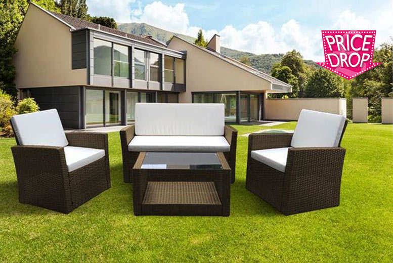 The Best Deal Guide - £199 instead of £799 (from Esenti) for a four-piece Roma rattan garden furniture set with cushions, with a limited number available at £189 - save up to 75%