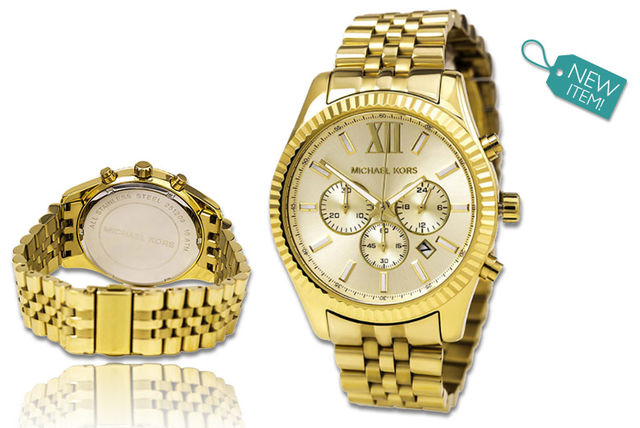 a1714ac836ae €139 instead of €293.57 (from Gray Kingdom) for a men s Michael Kors gold  Lexington chronograph watch - save 53%