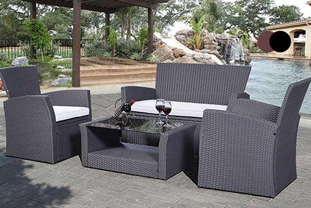 Incredible 4Pc Patio Rattan Furniture Set 3 Colours Garden Home Interior And Landscaping Ologienasavecom