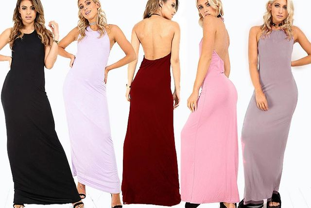 abc75385bf7b4 Halter Neck Maxi Dress with Low Back Detail - 5 Colours, Sizes 8-22 ...