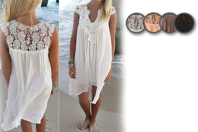 d955ca0e5a £10 instead of £34.99 (from Blu Apparel) for a crochet floaty beach dress -  choose from four colours and save 71%
