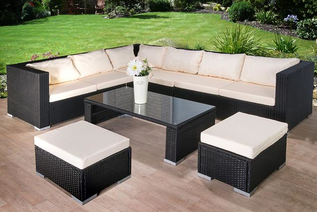 9pc Rattan Corner Sofa With Stool U0026 Coffee Table Set