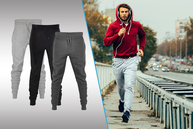 The Best Deal Guide - £8 instead of £29.99 for a pair of men's skinny fit joggers - choose black, light grey or dark grey from Nothing New 2 Wear - save 73%