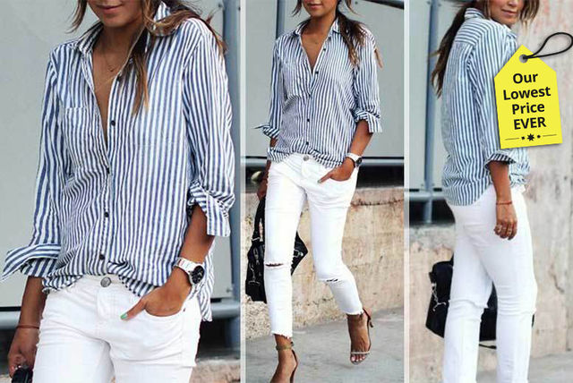 Ladies Blue & White Striped Shirt