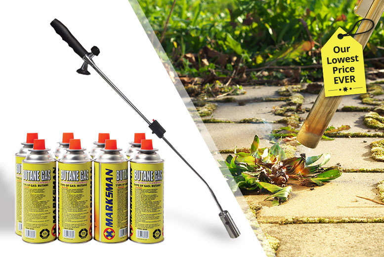 The Best Deal Guide - £14.99 instead of £65 (from Black Feather) for a weed burner with four butane gas canisters, £21.99 with eight butane gas canisters - save up to 77%
