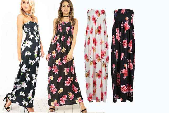 86d5186fbc236 Strapless Bandeau Floral Maxi Dress - 4 Colours! | Shopping ...