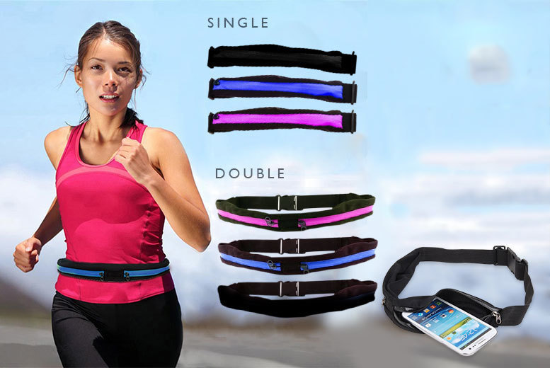 The Best Deal Guide - From £3.99 for a single or double (£4.99) zip pocket smartphone running belt from Snap One Up Ltd - save up to 77%