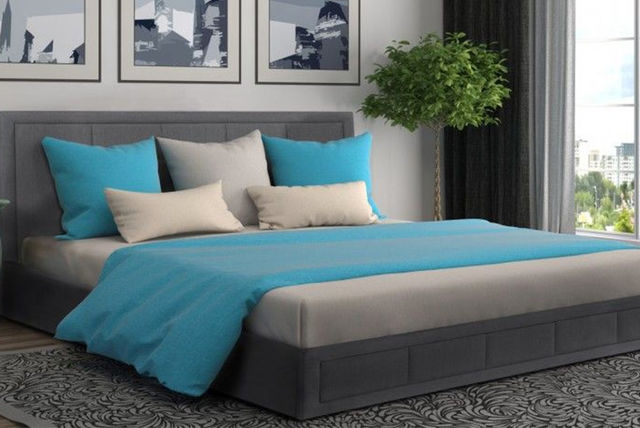 luxury grey fabric ottoman storage bed with mattress options - Luxury Storage Beds