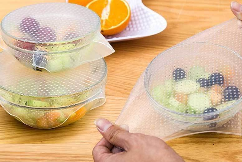 The Best Deal Guide - From £4.99 for a pack of four reusable silicone food covers, £7 for eight covers, or £12 for 12 covers from Pearl Info - save up to 75%