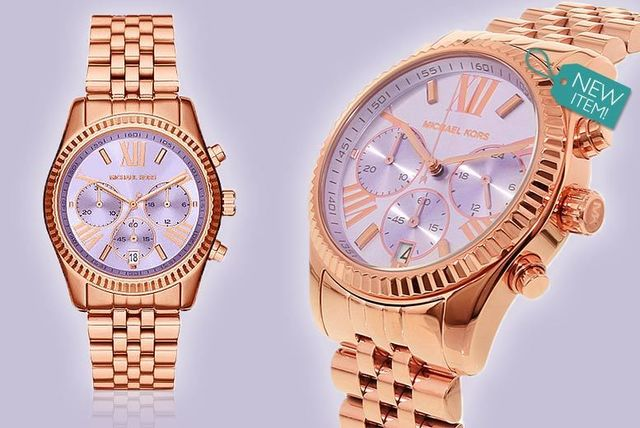 553e3b90bb02 Ladies Michael Kors Lexington Lilac Dial with Rose-Gold Tone Watch ...