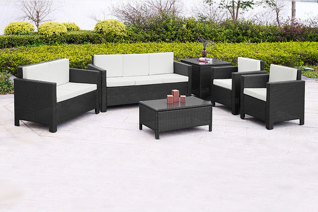 f3c848d885f £399 instead of £999 for a black seven seater large rattan garden furniture  set from Giomani Designs - save 60%
