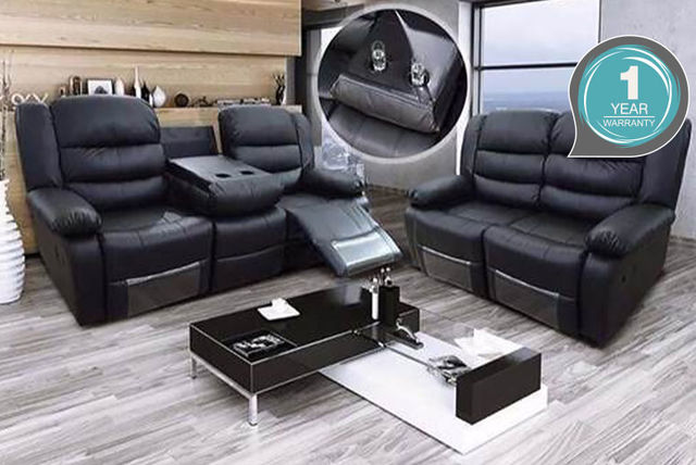 2-3 Seater Reclining Leather Sofa - 2 colours! | Shopping | LivingSocial