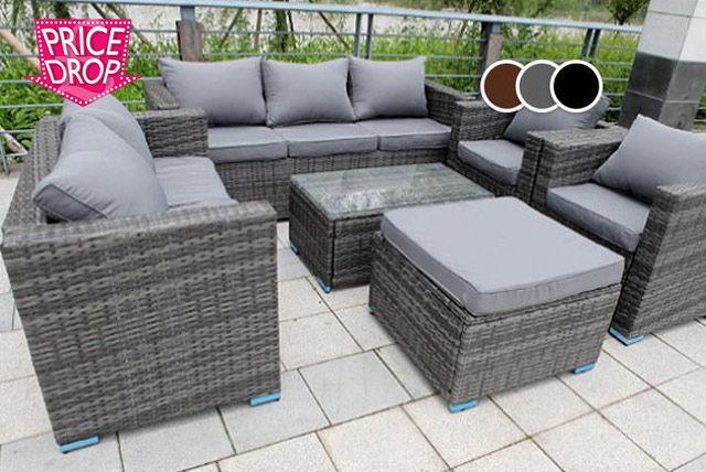 8 seater rattan garden furniture set table 3 colours