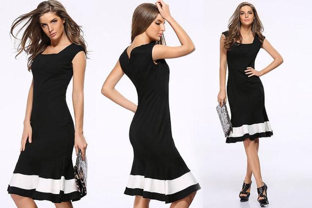 857c0f3062225 Black & White Fitted Midi Dress | Shopping | LivingSocial