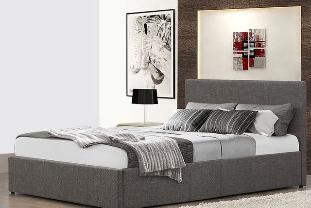6e0de7510191 Fabric Ottoman Gas Lift Storage Bed - Memory Mattress Options! | Shopping |  LivingSocial