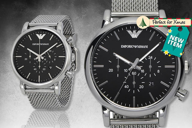 241a0b3a6 €129 instead of €271.42 (from Wristy Business) for a men's Emporio Armani  AR1808 stainless steel mesh watch - save 52%