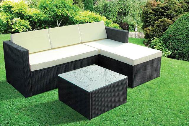 Sashtime 3pc Contemporary Rattan Corner Sofa & Coffee Table Set