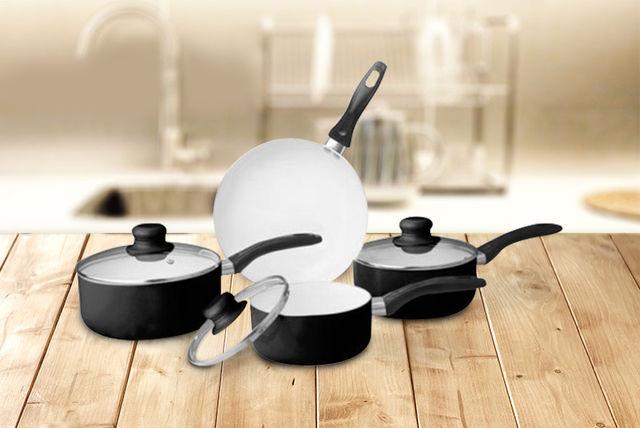 7pc Ceramic Pan Set - Black