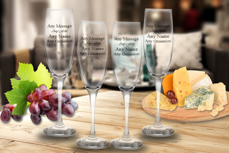 Image of From £5.99 instead of £17.04 (from CNC Group) for a set of personalised engraved Prosecco glasses - save up to 65%