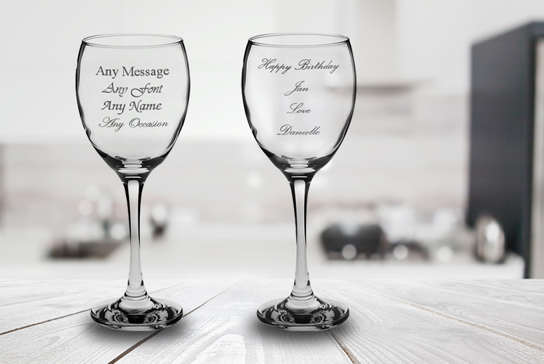 Image of From £10.99 instead of £23.90 (from CNC Group) for a set of individually personalised engraved wine glasses - save up to 54%