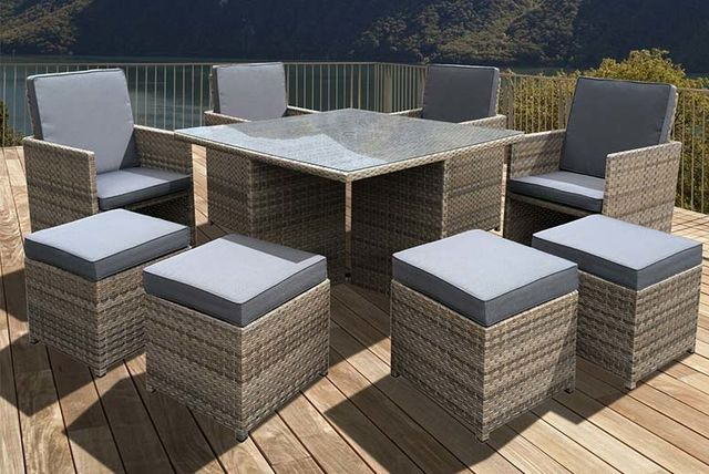 8pc oseasons cube rattan garden furniture set table for Garden furniture set deals