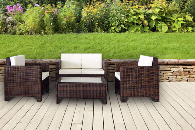 4pc rattan garden furniture set 4 colours