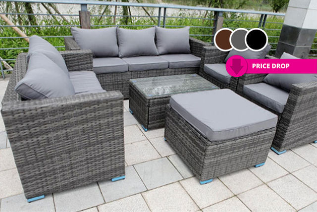 Rattan Garden Furniture Set 8 Seater with Table