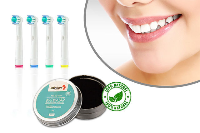 Charcoal Teeth Whitening Powder 8 Oral B Compatible Brush Heads