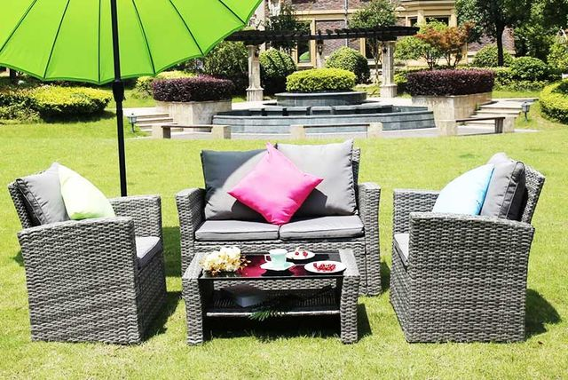219 instead of 970 from dreams outdoors for a four seater rattan garden furniture set select from three colours and save up to 77