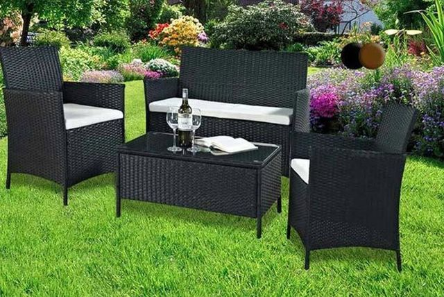 179 instead of 74967 from esenti for a four piece rattan garden or conservatory furniture set including a double sofa two chairs and a coffee table