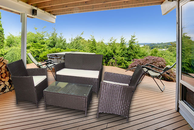 Prime 4Pc Rattan Furniture Set 2 Colours Shopping Livingsocial Beutiful Home Inspiration Aditmahrainfo