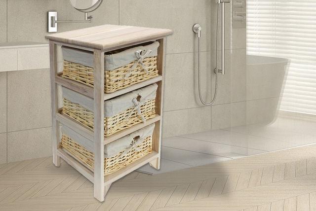 3 Tier Wicker Basket Wooden Storage Unit Shopping Livingsocial