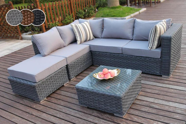 5-Seater Outdoor Rattan Corner Sofa & Coffee Table Set | Shopping ...