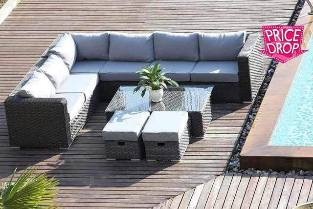 8-Seat L Shaped Rattan Furniture Set
