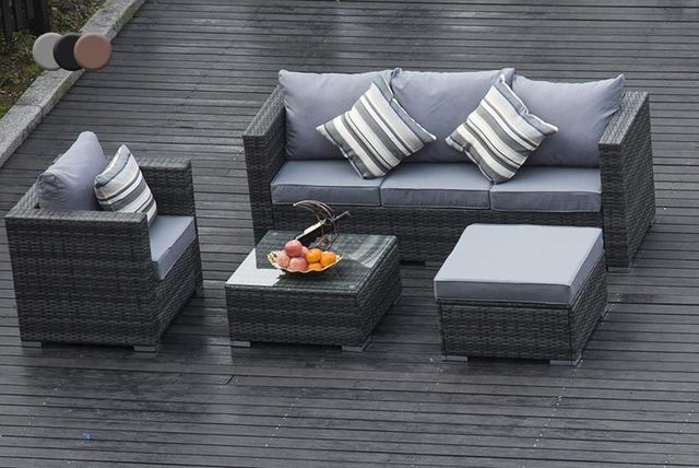 Grey Rattan Garden Furniture Uk Monaco 5 seater rattan outdoor furniture set workwithnaturefo