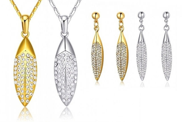 6b7e15c5c Crystal Leaves Jewellery Set- 2 Colours! | Jewellery deals in Shopping |  LivingSocial